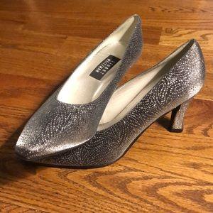 Glittery silver heels by Stuart Weitzman